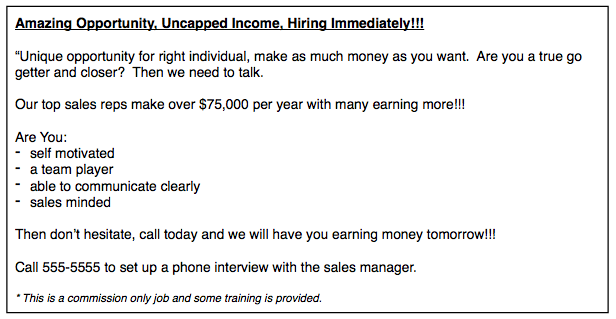 Door to Door Sales Job Ad Bad Example