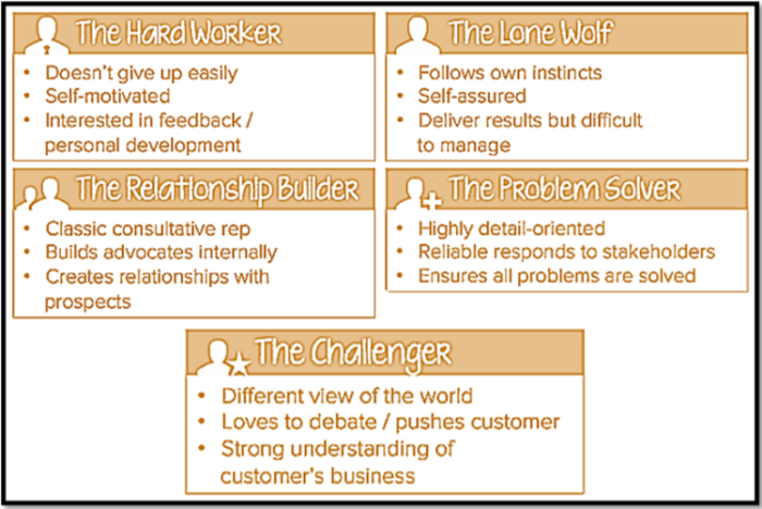 Sales rep profiles for the challenger sales methodology