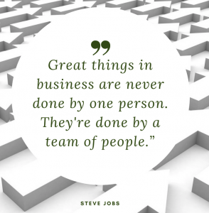 Motivational Quote: Great things in business are never done by one person. They're done by a team of people. - Steve Jobs