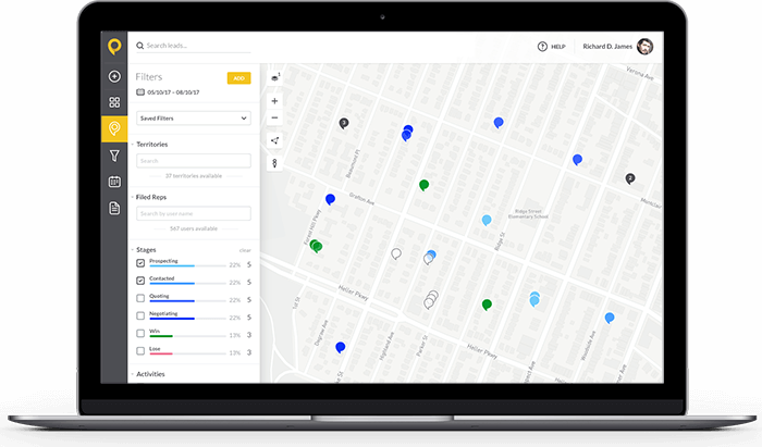SPOTIO's territory mapping and sales prospecting software. Our mapping software is robust, intuitive and a game-changer for field reps
