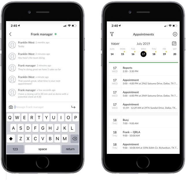 Chat and Calendar Side by Side